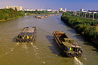 Barges moving along the Grand Canal, Jiangsu Province between Zhouzhuang and Suzhou, China