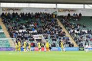 Wimbledon fans in the away stand during the EFL Sky Bet League 1 match between Plymouth Argyle and AFC Wimbledon at Home Park, Plymouth, England on 6 October 2018.