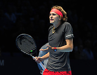 Tennis - 2018 Nitto ATP Finals at The O2 - Day Two<br /> <br /> Mens singles : Alexander Zverev (GER) v Marin Cilic (CRO)<br /> <br /> Alexander Zverev of Germany argues with his coach<br /> <br /> COLORSPORT/ANDREW COWIE