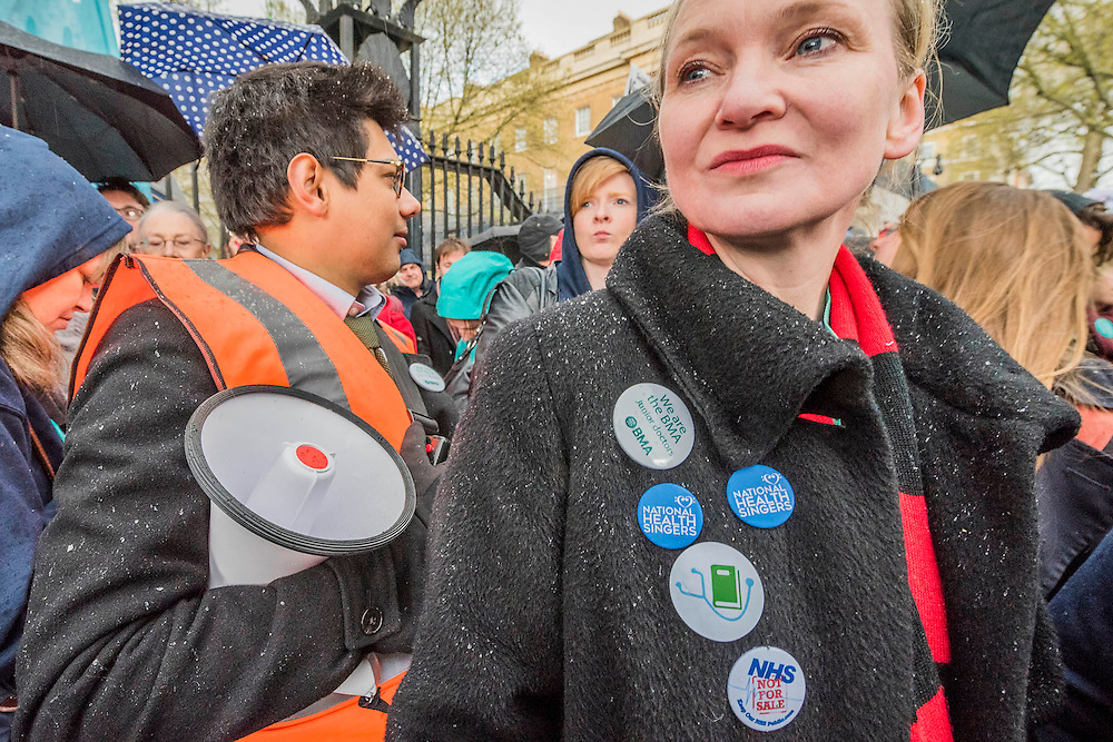 Doctors leave the picket line at St Thomas' Hospital to march to the DoH in Whitehall. Junior Doctors stage a 7 day all out strike action, this time imncluding accident and emergency coverage. They are striking against the new contracts due to be imposed by the Governemnt and health minister Jeremy Hunt. They are supported by the British Medical Association.