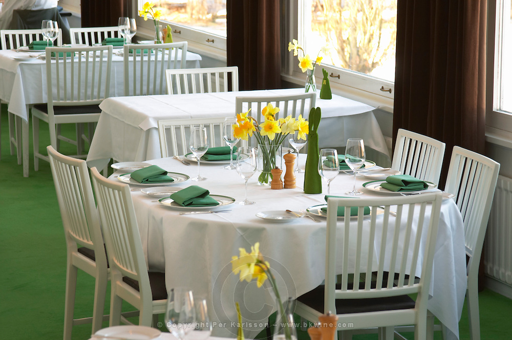 A restaurant table with a white linen table cloth set for six persons, with plates, silver cutlery and green napkins and a yellow Easter daffodil lily flower on the table. Ulriksdal Ulriksdals Wärdshus Värdshus Wardshus Vardshus Restaurant, Stockholm, Sweden, Sverige, Europe