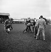 Irish Rugby Football Union, Ireland v Australia, Ireland team pracrtice, Dublin, Ireland, Friday 20th January, 1967,.20.1.1967, 1.20.1967,  Referee- M Joseph, Welsh Rugby Union, ..Score- Ireland 15 - 8 Australia, ..Irish Team, ..T J Kiernan,  Wearing number 15 Irish jersey, Full Back, Cork Constitution Rugby Football Club, Cork, Ireland,..A T A Duggan, Wearing number 14 Irish jersey, Right Wing, Landsdowne Rugby Football Club, Dublin, Ireland,..F P K Bresnihan, Wearing number 13 Irish jersey, Right Centre, University College Dublin Rugby Football Club, Dublin, Ireland, ..H H Rea, Wearing number 12 Irish jersey, Left Centre, Edinburgh University Rugby Football Club, Edinburgh, Scotland, ..P J McGrath,  Wearing number 11 Irish jersey, Left Wing, University college Cork Rugby Football Club, Cork, Ireland,  ..C M H Gibson, Wearing number 10 Irish jersey, Stand Off, N.I.F.C, Rugby Football Club, Belfast, Northern Ireland, ..B F Sherry, Wearing number 9 Irish jersey, Scrum Half, Terenure Rugby Football Club, Dublin, Ireland, ..K G Goodall, Wearing number 8 Irish jersey, Forward, Newcastle University Rugby Football Club, Newcastle, England, ..M G Doyle, Wearing number 7 Irish jersey, Forward, Edinburgh Wanderers Rugby Football Club, Edinburgh, Scotland, ..N Murphy, Wearing number 6 Irish jersey, Forward, Cork Constitution Rugby Football Club, Cork, Ireland,..M Molloy, Wearing number 5 Irish jersey, Forward, University College Galway Rugby Football Club, Galway, Ireland,  ..W J McBride, Wearing number 4 Irish jersey, Forward, Ballymena Rugby Football Club, Antrim, Northern Ireland,..P O'Callaghan, Wearing number 3 Irish jersey, Forward, Dolphin Rugby Football Club, Cork, Ireland, ..K W Kennedy, Wearing number 2 Irish jersey, Forward, C I Y M S Rugby Football Club, Belfast, Northern Ireland, ..T A Moroney, Wearing number 1 Irish jersey, Forward, University College Dublin Rugby Football Club, Dublin, Ireland,