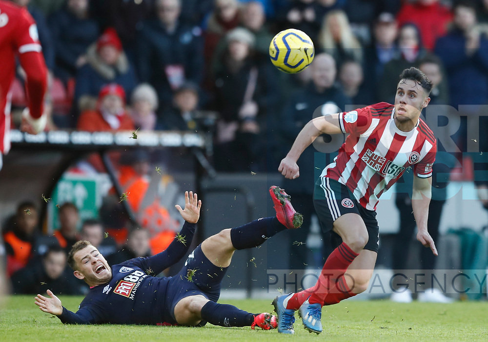 George Baldock of Sheffield Utd skips past Ryan Fraser of Bournemouth during the Premier League match at Bramall Lane, Sheffield. Picture date: 9th February 2020. Picture credit should read: Simon Bellis/Sportimage