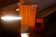 Pews are lit by morning light at Family of Christ Lutheran Church, Houlton, Wis., on Sunday, Feb. 14, 2021. LCMS Communications/Erik M. Lunsford