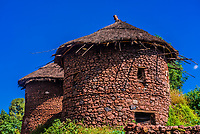 Tukul huts, Lalibela, Ethiopia. They are round huts are built of stone and usually have two stories.