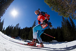 ROMANOVA Yana of Russia competes during Women 12.5 km Mass Start competition of the e.on IBU Biathlon World Cup on Sunday, March 9, 2014 in Pokljuka, Slovenia. Photo by Vid Ponikvar / Sportida