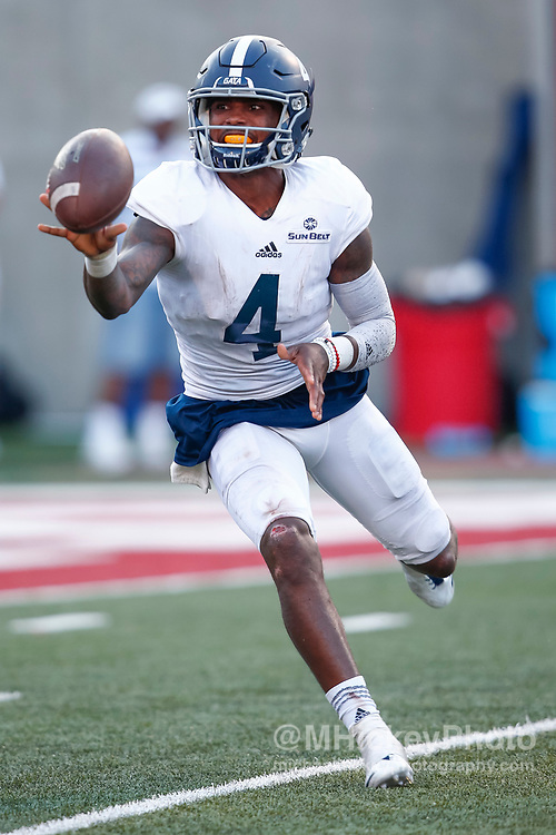 BLOOMINGTON, IN - SEPTEMBER 23: Shai Werts #4 of the Georgia Southern Eagles is seen during the game against the Indiana Hoosiers at Memorial Stadium on September 23, 2017 in Bloomington, Indiana. (Photo by Michael Hickey/Getty Images) *** Local Caption *** Shai Werts