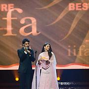 SHEFFIELD, UNITED KINGDOM - 9th June 2007: Newlywed actors Ayshwarya Rai and Abhishek Bachchan at International Indian Film Academy Awards (IIFAs) at the Sheffield Hallam Arena on June 9, 2007 in Sheffield, England.