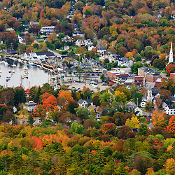 Camden, Maine as seen from Mount Battie in Camden Hills State Park. Fall.