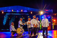 Haururu Papenoo choir performing during in the Winners Showcase, the final night of the Heiva i Tahiti (July cultural festival), Place Toata, Papeete, Tahiti, French Polynesia.
