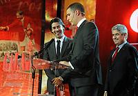 20120227: LISBON, PORTUGAL - SL Benfica 108th anniversary gala at Coliseu dos Recreios in Lisbon, Portugal.<br /> In photo: Rui Costa, Luis Filipe Vieira and Ricardo Araujo Pereira.<br /> PHOTO: Alvaro Isidoro/CITYFILES