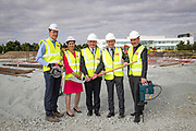 NO FEE PICTURES<br />13/7/18 Irish Life has formally broken ground on its new Customer Centre in Dundalk, Co Louth. The building has been designed by leading Dublin based architects, wejchert Architects and is being delivered by main contractor Stewart Construction. The new site area is 1.6 hectares with an office size of 45,000 sq ft. It is expected that over 200 construction workers will be on site during the construction phase of the project, which will be a significant boost to local employment in the Dundalk Area. Pictured are : Paul Stewart, MD Stewart Construction, Aine Cassidy, Excutive Manager, Dundalk Office, Sean Rooney, developer, David Harney, CEO Irish Life and Se Weston, Excutive Manager, Dundalk Office. Picture :Arthur Carron