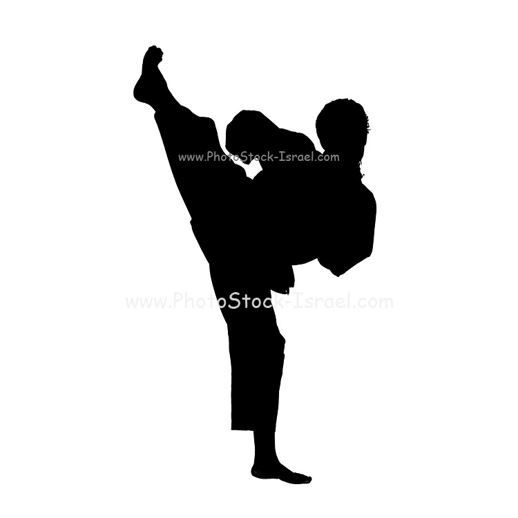 Female Martial Arts silhouetted in a studio on white background