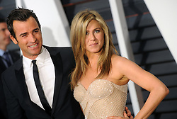 """File photo - Justin Theroux and Jennifer Aniston attend the Vanity Fair Oscar Party at Wallis Annenberg Center for the Performing Arts in Los Angeles on 22 February 2015. Hollywood couple Jennifer Aniston and Justin Theroux are separating after two years of marriage. The pair, who reportedly met on the set of comedy film Wanderlust, said the mutual decision was """"lovingly made"""" at the end of last year. Photo by Dennis Van Tine/ABACAPRESS.COM"""