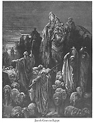 Jacob goes to Egypt Genesis 46:5 From the book 'Bible Gallery' Illustrated by Gustave Dore with Memoir of Doré and Descriptive Letter-press by Talbot W. Chambers D.D. Published by Cassell & Company Limited in London and simultaneously by Mame in Tours, France in 1866