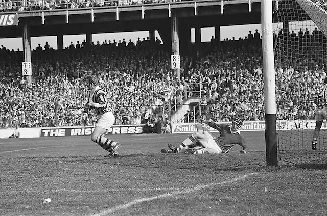 A Kilkenny player tackles Cork to the ground as he wait for the ball in front of the goal during the All Ireland Senior Hurling Final, Cork v Kilkenny in Croke Park on the 3rd September 1972. Kilkenny 3-24, Cork 5-11.