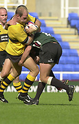 Photo Peter Spurrier<br /> 29/09/02   ZURICH PREMIERSHIP RUGBY, Lawrence DALLAGLIO, with ball, during the, London Irish vs Wasps, match,  Madejski Stadium, Reading Berkshire, [Mandatory Credit: Peter Spurrier/Intersport Images]