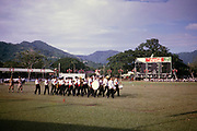 Display marching band musicians, Port of Spain, Trinidad c 1962 independence pageant