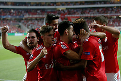 August 21, 2018 - Lisbon, Portugal - Benfica's Portuguese midfielder Pizzi (3nd R ) celebrates with teammates after scoring during the UEFA Champions League play-off first leg match SL Benfica vs PAOK FC at the Luz Stadium in Lisbon, Portugal on August 21, 2018. (Credit Image: © Pedro Fiuza via ZUMA Wire)