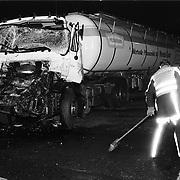 Ongeval 2 vrachtwagens botsing A28 bij Amersfoort, 2 gewonden