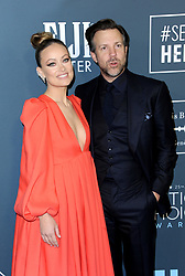 Olivia Wilde and Jason Sudeikis at the 25th Annual Critics' Choice Awards held at the Barker Hangar in Santa Monica, USA on January 12, 2020.