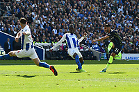 BRIGHTON, ENGLAND - MAY 12:   Riyad Mahrez (26) of Manchester City scores a goal to make the score 1-3 during the Premier League match between Brighton & Hove Albion and Manchester City at American Express Community Stadium on May 12, 2019 in Brighton, United Kingdom. (MB Media)