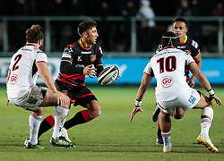 Dragons' Gavin Henson under pressure from Ulster Rugby's John Andrew<br /> <br /> Photographer Simon King/Replay Images<br /> <br /> Guinness Pro14 Round 10 - Dragons v Ulster - Friday 1st December 2017 - Rodney Parade - Newport<br /> <br /> World Copyright © 2017 Replay Images. All rights reserved. info@replayimages.co.uk - www.replayimages.co.uk