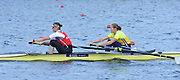 Reading. United Kingdom.  GBR W2-. Bow Helen GLOVER and Heather STANNING, in the opening strokes of the morning time trial. 2014 Senior GB Rowing Trails, Redgrave and Pinsent Rowing Lake. Caversham.<br /> <br /> 10:42:58  Saturday  19/04/2014<br /> <br />  [Mandatory Credit: Peter Spurrier/Intersport<br /> Images]