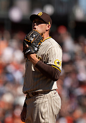 Oct 3, 2021; San Francisco, California, USA; San Diego Padres pitcher Craig Stammen (34) reacts to giving up another run against the San Francisco Giants during the fourth inning at Oracle Park. Mandatory Credit: D. Ross Cameron-USA TODAY Sports