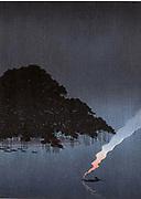 Night scene of small boat with plume of smoke from smoky lantern approaching the great Pine tree at Karasaki, Lake Biwa, 1900-1920. Konen Uehera (1878-1940) Japanese artist.   Water  Tranquility Peace Calm Blue