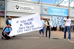 Coventry City fans protest outside of the Sixfields Stadium in Northampton  - Photo mandatory by-line: Dougie Allward/JMP - Tel: Mobile: 07966 386802 11/08/2013 - SPORT - FOOTBALL - Sixfields Stadium - Sixfields Stadium -  Coventry V Bristol City - Sky Bet League One