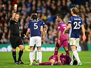 Claudio Yacob of West Bromwich Albion is shown a yellow card .Carabao Cup 3rd round match, West Bromwich Albion v Manchester City at the Hawthorns stadium in West Bromwich, Midlands on Wednesday 20th September 2017. pic by Bradley Collyer, Andrew Orchard sports photography.