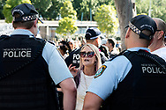 SYDNEY, NSW - SEPTEMBER 05: Police ask a woman to leave the area during the Freedom Day Rally on September 05, 2020 in Sydney, Australia. Protesters argue COVID-19 is a hoax and say their freedoms are being unfairly impinged. Demonstrations are also taking place in every Australian capital city and several regional areas, including Byron Bay. (Photo by Lucca Markham/Speed Media)