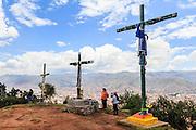 Crosses on the summit overlooking, Cusco, peru
