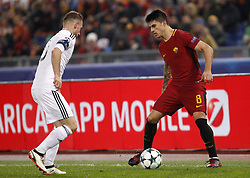 December 5, 2017 - Rome, Italy - Roma s Diego Perotti, right, is challenged by Qarabag s Maksim Medvedev during the Champions League Group C soccer match between Roma and Qarabag at the Olympic stadium. Roma won 1-0 to reach the round of 16. (Credit Image: © Riccardo De Luca/Pacific Press via ZUMA Wire)