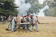 USA, Oregon, Brooks, Willamette Mission State Park, Confederate artillery in combat.