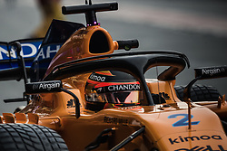 March 1, 2018 - Barcelona, Catalonia, Spain - STOFFEL VANDOORNE (BEL) in his McLaren MCL33 at the pit stop at day four of Formula One testing at Circuit de Catalunya. (Credit Image: © Matthias Oesterle via ZUMA Wire)