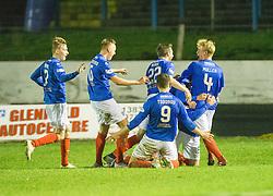 Cowdenbeath's Kris Renton cele scoring their third goal. Cowdenbeath 3 v 4 Forfar Athletic, Scottish Football League Division Two game played 17/12/2016 at Central Park.