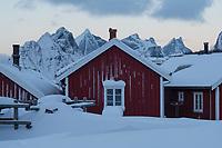 Red Rorbu cabins - traditional fishermen's accommodation turned tourist cabins, Reine, Lofoten Islands, Norway