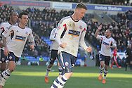 Bolton Wanderer's Joe Mason celebrates after scoring his sides second goal. Skybet championship match, Bolton Wanderers v Blackburn Rovers at the Reebok Stadium in Bolton, England on Saturday 1st March 2014.<br /> pic by David Richards, Andrew Orchard sports photography.