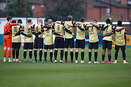Marine during the one minute silence during the The FA Cup match between Marine and Havant & Waterlooville FC at Marine Travel Arena, Great Crosby, United Kingdom on 29 November 2020.