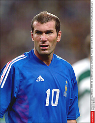 © Christian Liewig/ABACA. 38908-24. Saint-Denis-France, 12/10/2002. France-Slovenie (5-0). European Championship Qualifying Group 1. Zinedine Zidane.  Equipe de France de Football French Soccer Team Euro 2004 Slovene Team Equipe de Slovenie Slovenische Nationalmannschaft Zidane Zinedine Activite sportive Sport Activity Football Foot Soccer Seule Seul Seuls Seules Alone France Frankreich Ile-de-France Saint-Denis St Denis Saint Denis Plan americain Half length Vertical Vertical  | 38908_24