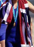 Sydney, AUSTRALIA, GBR M8+,  Union flag and Olympic Gold Medal. 2000 Olympic Regatta, West Lakes Penrith. NSW.  [Mandatory Credit. Peter Spurrier/Intersport Images] Sydney International Regatta Centre (SIRC) 2000 Olympic Rowing Regatta00085138.tif