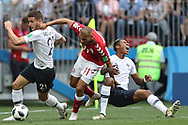 Lucas Hernandez and Presnel Kimpembe of France, Martin Braithwaite of Denmark during the 2018 FIFA World Cup Russia, Group C football match between Denmark and France on June 26, 2018 at Luzhniki Stadium in Moscow, Russia- Photo Tarso Sarraf / FramePhoto / ProSportsImages / DPPI