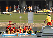 Beijing, CHINA. A Finals JW8+, Polish women's cox, Malgorzata GRABANIA. catches bottles of water for her crews after the final of the women's eights, at  the  2007. FISA Junior World Rowing Championships,  Shunyi Water Sports Complex. 11/08/2007 [Photo, Peter Spurrier/Intersport-images]..... , Rowing Course, Shun Yi Water Complex, Beijing, CHINA,