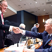 """James Thompson (left) and General Richard Myers, Chairman of the Joint Chiefs of Staff. The 9/11 Commission's 12th public hearing on """"The 9/11 Plot"""" and """"National Crisis Management"""" was held June 16-17, 2004, in Washington, DC."""