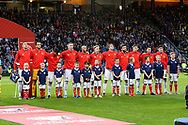 Russia team during the national anthem during the UEFA European 2020 Qualifier match between Scotland and Russia at Hampden Park, Glasgow, United Kingdom on 6 September 2019.