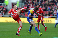 Bristol City's Josh Brownhill (l) challenges Cardiff City's Joe Ralls. EFL Skybet championship match, Bristol City v Cardiff City at the Ashton Gate Stadium  in Bristol, Avon on Saturday 14th January 2017.<br /> pic by Carl Robertson, Andrew Orchard sports photography.