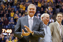 Feb 2, 2019; Morgantown, WV, USA; Former West Virginia Mountaineers player Jerry West is honored at halftime at WVU Coliseum. Mandatory Credit: Ben Queen-USA TODAY Sports