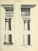 Tuscan order (Left) and Doric Order (Right) Copperplate engraving From the Encyclopaedia Londinensis or, Universal dictionary of arts, sciences, and literature; Volume II;  Edited by Wilkes, John. Published in London in 1810